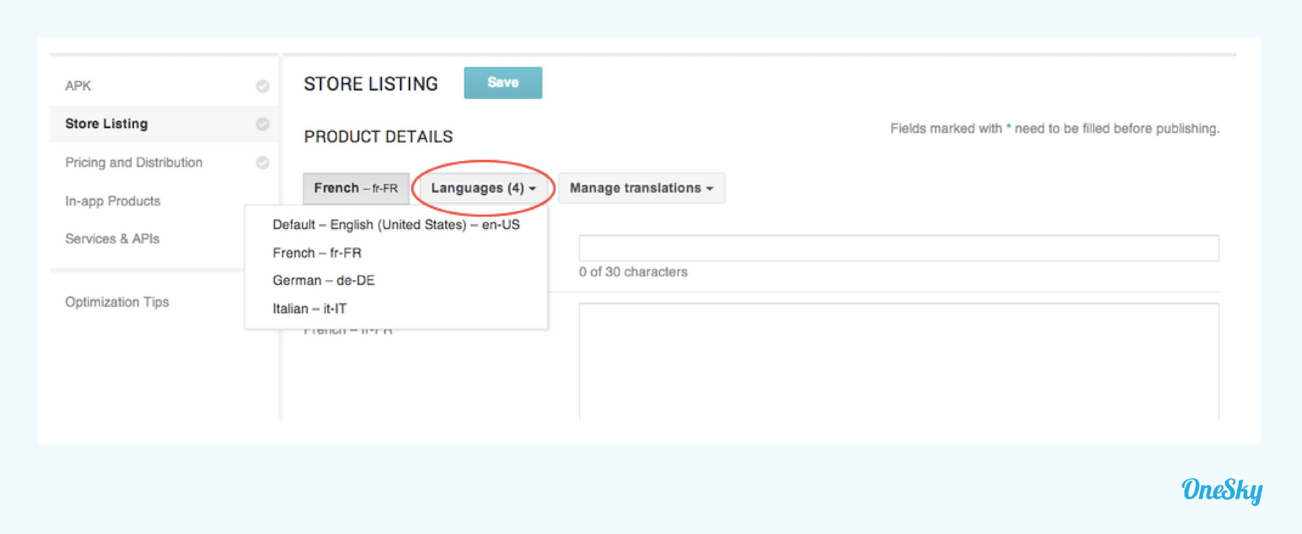 """Edit the store listing of the enabled language(s) under the """"Languages"""" dropdown menu."""