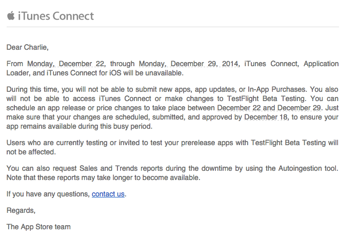 iTunes Connect closes between December 22nd and 29th