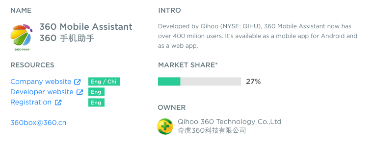 An example of Chinese Android app store